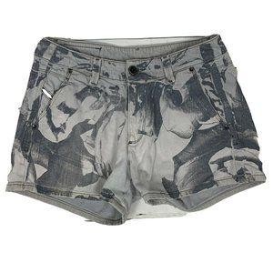 Diesel black gold gray printed denim shorts